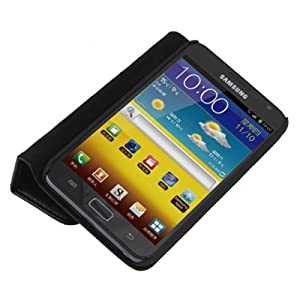 Black Leather Case Flip Pouch with Stand for Samsung Galaxy Note GT-N7000 / i9220