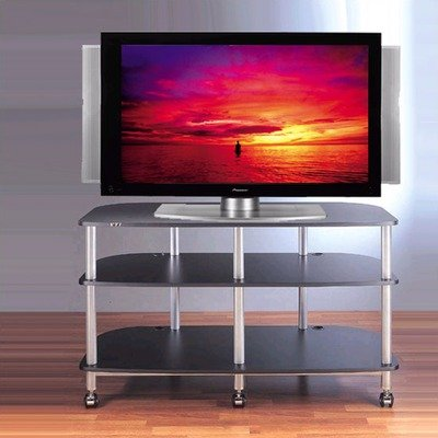 Cheap AR Series 3-Shelf 42″ TV Stand Pole Color: Silver, Shelves: Black (AR503SB)