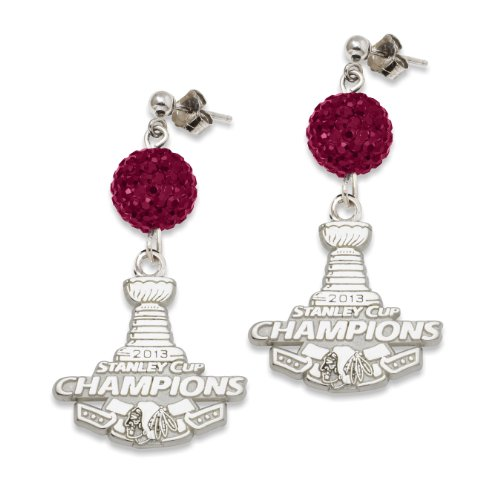 NHL Chicago Blackhawks 2013 Stanley Cup Champions Sterling Silver Ovation Earrings