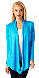 Popana Super-Soft Open Front Drape Cardigan - Large Turquoise Made In USA