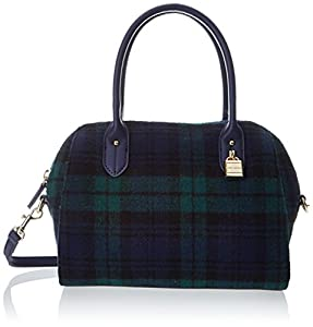 Tommy Hilfiger Heritage Lock Plaid Wool 6925575 Top Handle Bag,Navy/Green,One Size