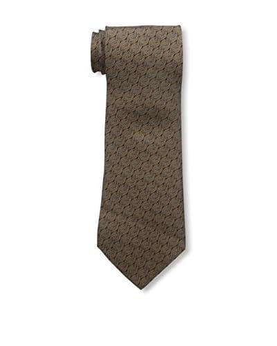 Hermès Men's Patterned Silk Tie, Brown/Gold