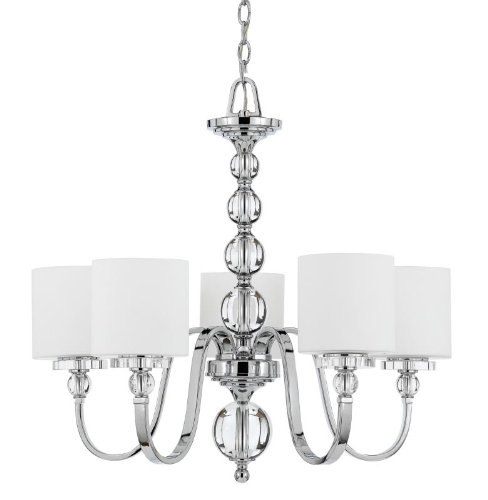 B0013UAIAI Quoizel DW5005C Downtown 26-Inch One Tier Chandelier With 5 Uplights with White Linen Glass Shade, Polished Chrome Finish