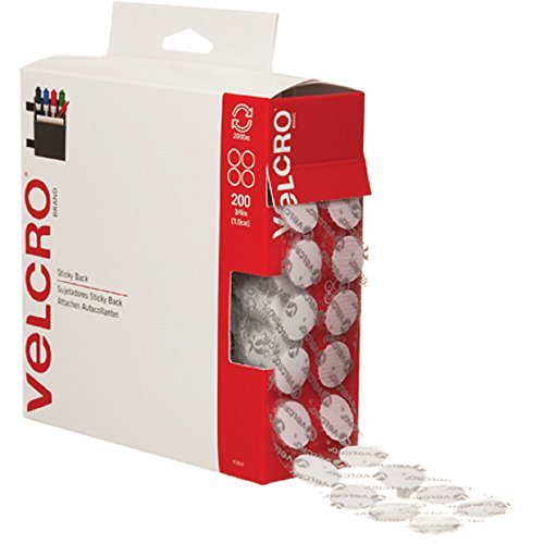"Read About VELCRO Brand - Sticky Back - 3/4"" Coins, 200 Sets - White"