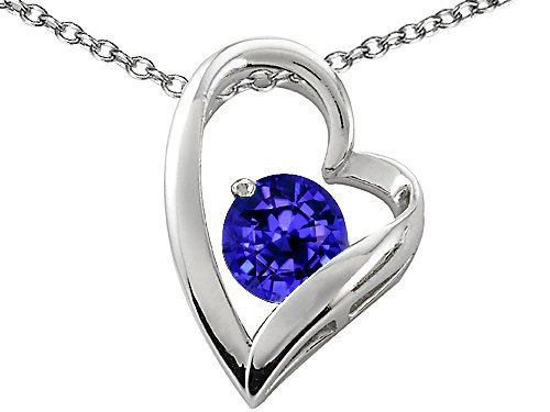 Original Star K(tm) 7mm Round Simulated Tanzanite Heart Shape Pendant in .925 Sterling Silver