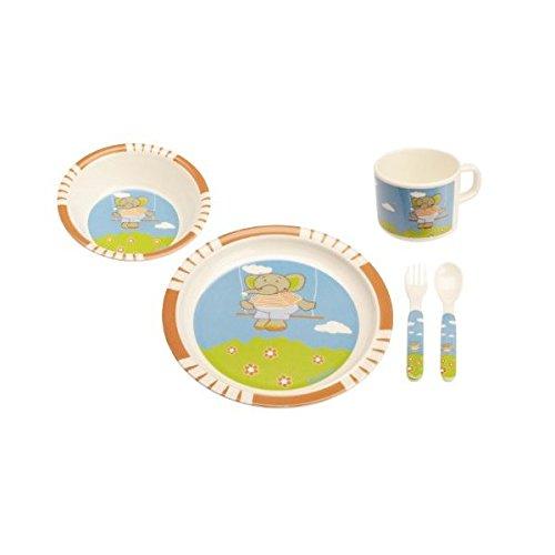Playshoes Melamine Baby Dinner Feeding Set (Elephant Printed, 5 Pieces, Blue )