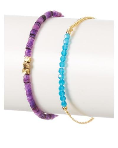 Shashi Natasha Amanda Purple & Aqua Bracelet Set