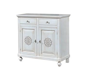 Credenza in legno finitura bianco invecchiato, con 2 Porte Intagliata e 2 cassetti 113x103