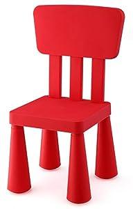 Silla Infantil de plástico con respaldo y asiento cuadrado, Roja   Comentarios de clientes y más información