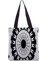 Snoogg Trippy Black And White Digitally Printed Utility Tote Bag Handbag Made Of Poly Canvas