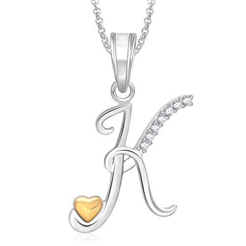 48 off on meenaz gold silver plated k letter pendant locket meenaz gold silver plated k letter pendant locket alphabet heart with chain for men mozeypictures Choice Image