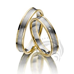 unique 14k yellow white yellow gold his and