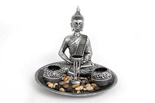 Empañada plateado sentado Buda portavelas para velas de té Soporte para incienso incluye vela de incienso