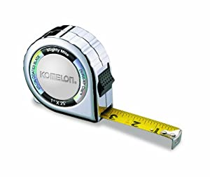 Komelon 525C Mighty Mite Nylon Coated Steel Blade Tape Measure 1-Inch by 25-Inch, Chrome Case