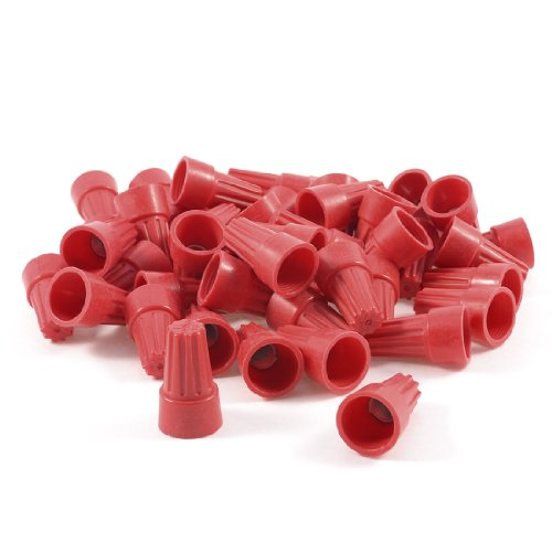 50 Pcs P6 18-10 AWG Red Plastic Twisted On Electrical Wire Nuts Connectors
