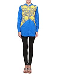 Kalki Fashion Crayola Blue Kurti Embellished In Floral Thread Embroidery Only On Kalki Size- Large