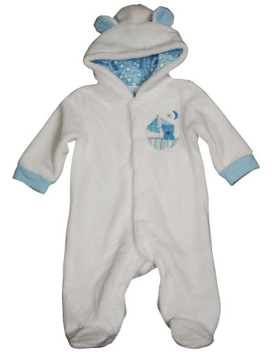Happi By Dena - Baby Boys Long Sleeve Footed Plush Coverall, White 34823-0-3Months