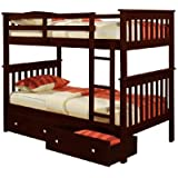 Bunk Bed Twin over Twin Mission Style in Cappucino with Drawers