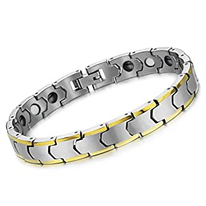 OPK South Korea Style With Health Care Magnetic Stones Anti-Radiation&Fatigue Tungsten Carbide Men's Bracelets Bangles Best Gift!