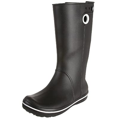 Crocs Women's Crocband Jaunt Rain Boot,Black,7 W US