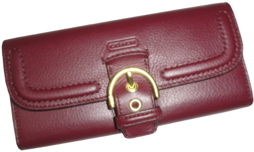 Coach   Coach 49897 Campbell Bordeaux Leather Buckle Slim Envelope Wallet