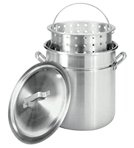 Bayou Classic 4042 42-Quart All-Purpose Aluminum Stockpot with Steam and Boil Basket