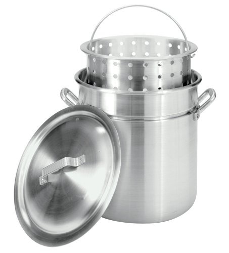 Bayou Classic 4042 42-Quart All-Purpose Aluminum Stockpot With Steam And Boil Basket front-33125