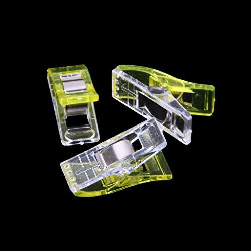 Lot de 50Pcs Clips Pinces en Plastique pour Reliure Couture Artisanat Jaune et Transparent