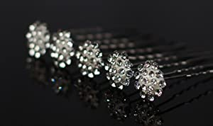 Package of 12 Rhinestone Flower Hair Jewelry for Weddings, Proms, Special Events