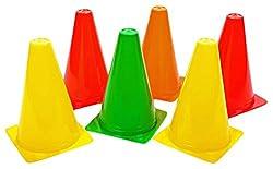 SAHNI SPORTS Plastic Training Cone Marker 15 inch, Set of 6, Multi-Color