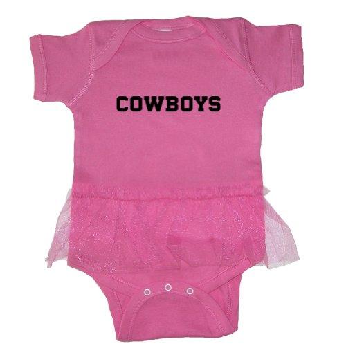 Mashed Clothing Baby Girls' Cowboys (Black Print) Tutu Bodysuit (Raspberry, 18 Months)