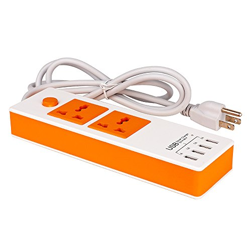 DUMVOIN(TM) Best Portable Home/Office Surge Protector Multi-functional USB Power Strip Indoor 1.4m AC Outlet with 2 Universal Electrical AC Power Sockets & 4 USB Ports Charging Station Power Supply for Home Application & Office Use, Supplying Power for 2 Electrical Products with other Devices Including Tablet iPhone iPad Samsung Galaxy Simultaneously – White&Orange