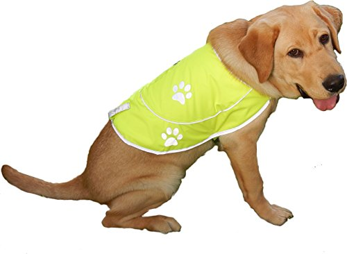 Dog Safety Reflective Vest - Premium 300D Oxford Weave Fabric Waterproof Vest for Best Visibility at Day and Night with Claps, Connectors & Comfortable Adjustable Size | Size XL - Yellow Color (Pup Gear compare prices)