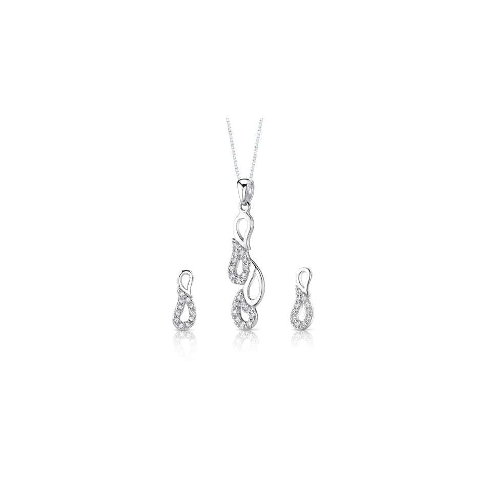 Classy pear design Sterling Silver Rhodium Nickel Finish Pendant Earrings Necklace Set with Cubic Zirconia