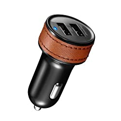 id-America Universal LX Dual USB Car Charger with Leather Grip - Retail Packaging - Brown