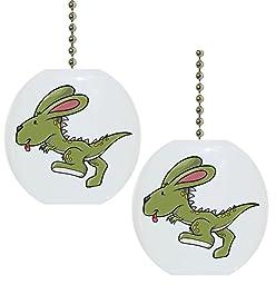 Set of 2 Dino Rabbit Dinosaur Solid CERAMIC Fan Pulls