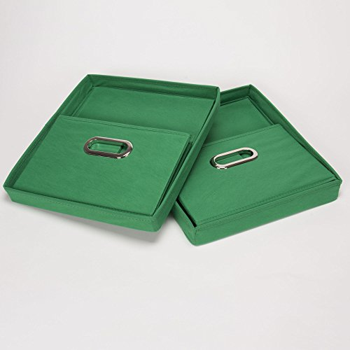 household essentials fabric storage boxes with lids and handles kelly green set of 2 home. Black Bedroom Furniture Sets. Home Design Ideas