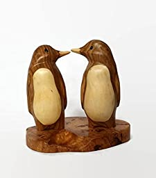 Penguin Wood Carving, Wedding Gift, Anniversary Gift,Handmade