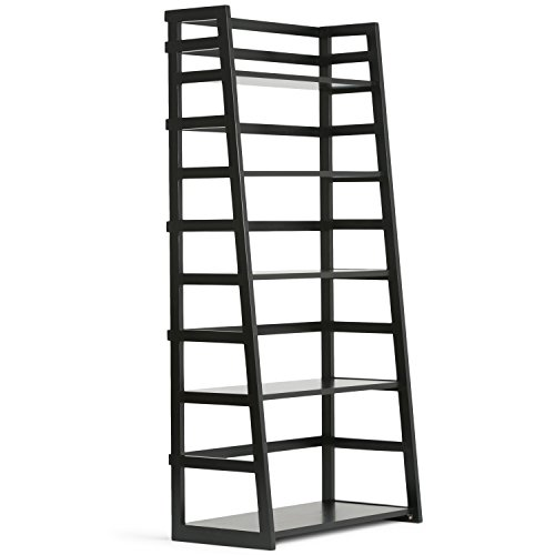 Simpli Home Acadian Solid Wood Ladder Shelf Bookcase, Black