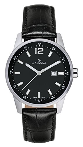 Grovana unisex Quartz Watch with Black Dial Analogue Display and Black Leather Strap 7715.1537