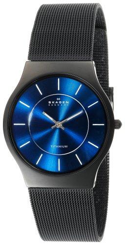 Skagen Men's 233LTMN Titanium Black Mesh Watch