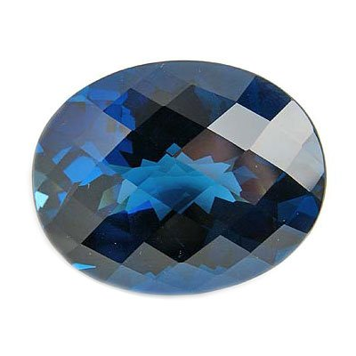 4.50 Cts of 12x10 Oval-Checkered Cut Loose London Blue Topaz