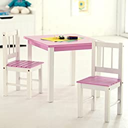 Lipper International 513PK Child\'s Table and 2-Chair Set, Pink and White