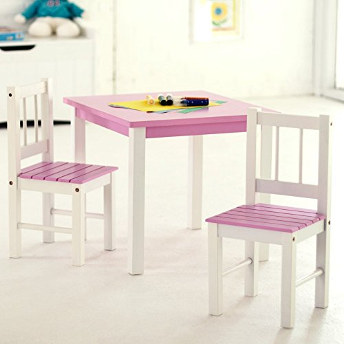 Lipper International 513PK Child's Table and 2-Chair Set, Pink and White (Teen Art Table compare prices)