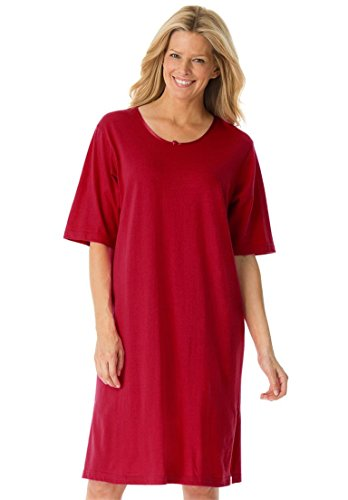 Dreams & Co. Women's Plus Size Tag-Free Knit Sleepshirt Classic Red,1X/2X