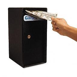 Theft-Resistant Compact Cash Trim Safe, .2 ft, 6w x 7d x 12h, Black