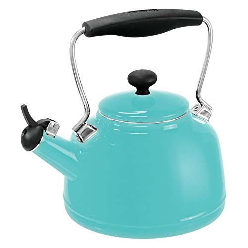 Chantal 37-VINT AQ Enamel on Steel Vintage Teakettle, 1.7 quart, Aqua