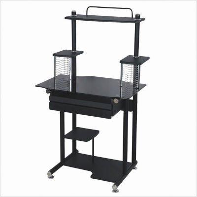 Buy Low Price Comfortable Glass Top Computer Cart – Black (B001PPFKOU)