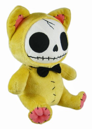 Furry Bones Yellow Plush Cat 10 Inch Stuffed Skull
