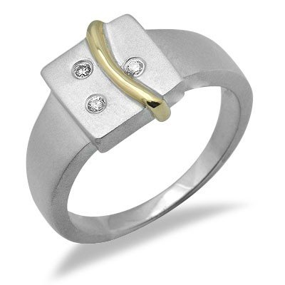 Sterling Silver & Gold Diamond Ring in Two Tone Gold - 5